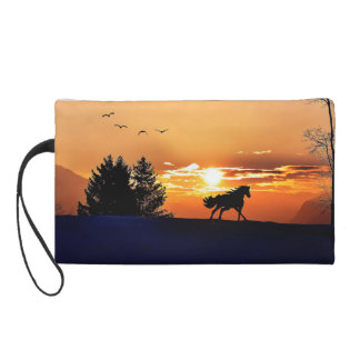 running horse  - sunset horse - horse wristlet