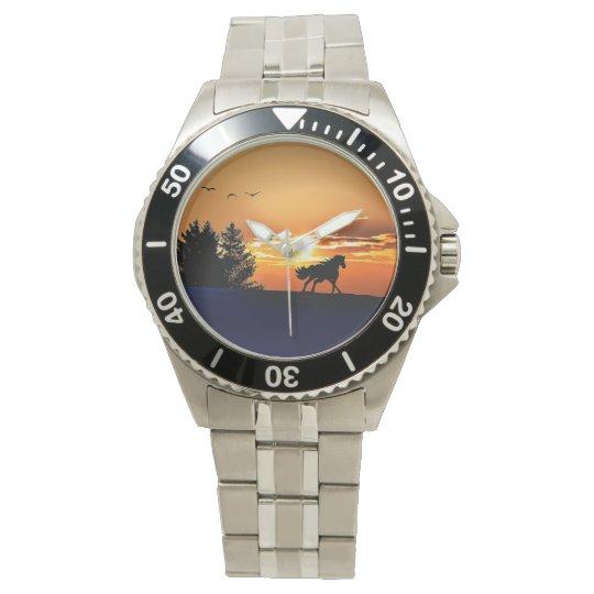 running horse  - sunset horse - horse wristwatches