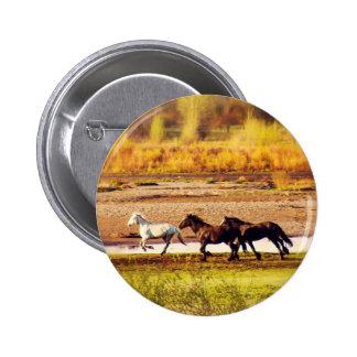 Running Horses 2 Inch Round Button