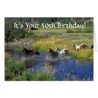 Running  horses 50th birthday card
