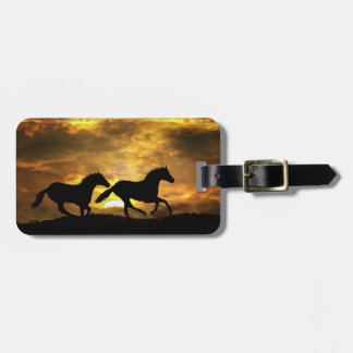 Running Horses at Sunset Luggage Tags