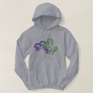 Running Horses Outline Embroidered Hoodie