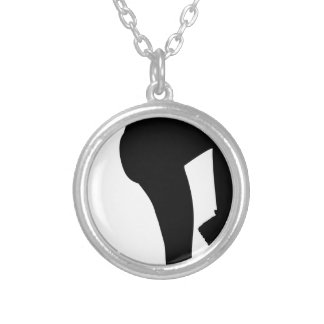 Running in Place Exercising Woman Silver Plated Necklace