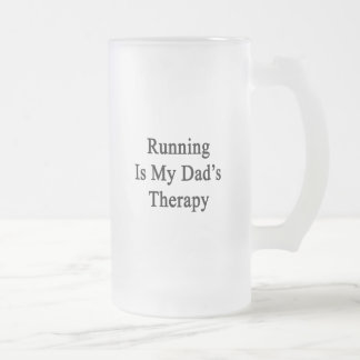 Running Is My Dad's Therapy Frosted Glass Beer Mug