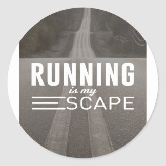 Running Is My Escape Classic Round Sticker