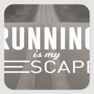 Running Is My Escape Square Sticker