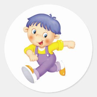 Running Kid Round Sticker