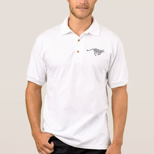 Running leopard polo shirt