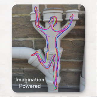 Running man drawn in multi colours on old pipes. mouse pad