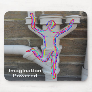 Running man drawn in multi colours on old pipes. mousepad