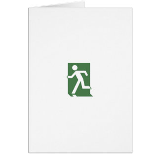 Running Man Emergency Fire Exit Sign Card