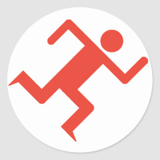 Running Man Red Classic Round Sticker