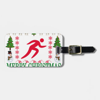 RUNNING MERRY CHRISTMAS . LUGGAGE TAG