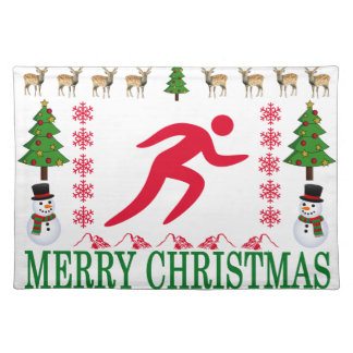 RUNNING MERRY CHRISTMAS . PLACEMAT
