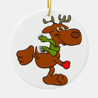 Running moose ceramic ornament