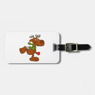 Running moose luggage tag