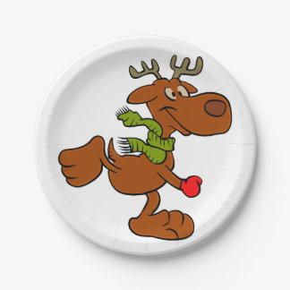 Running moose paper plate