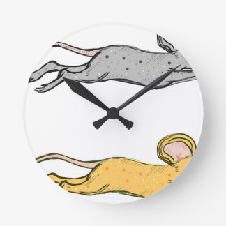 Running Mouse Vector Sketch Round Clock