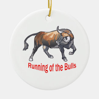 Running Of The Bulls Round Ceramic Ornament