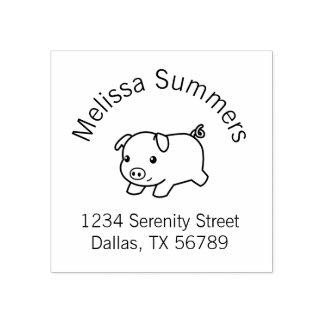 Running Piglet Pig Return Address 2 Rubber Stamp