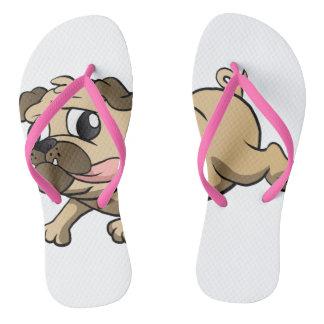 running pug cartoon flip flops
