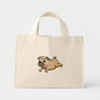 running pug cartoon mini tote bag