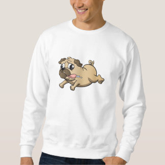 running pug cartoon sweatshirt