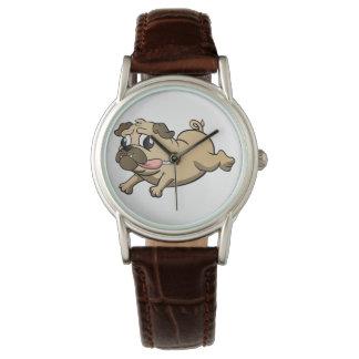 running pug cartoon wrist watches