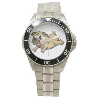 running pug cartoon wristwatch