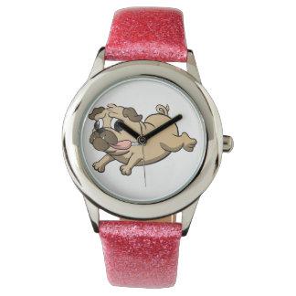 running pug cartoon wristwatches
