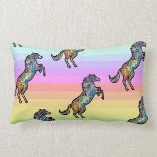 Running Rainbow Horse on Rainbow BG Lumbar Pillow