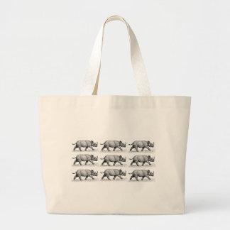 Running Rhinos art Large Tote Bag