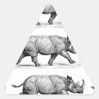 Running Rhinos art Triangle Sticker