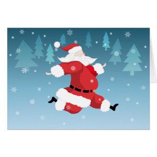 Running Santa Christmas Greeting Card