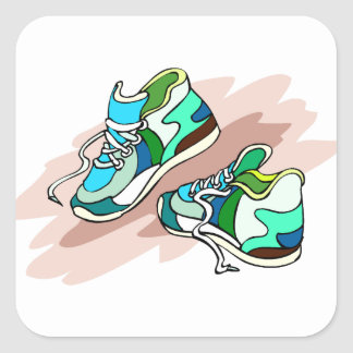 Running Shoes Square Sticker