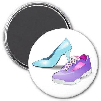 Running sneaker and princess high heeled shoe magnet