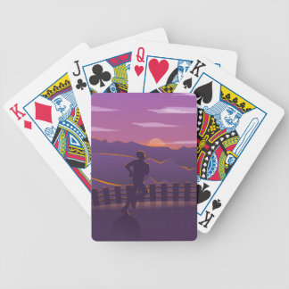 Running sunrise bicycle playing cards