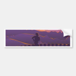 Running sunrise bumper sticker