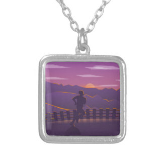 Running sunrise silver plated necklace