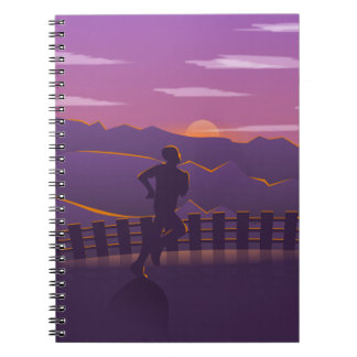 Running sunrise spiral notebook