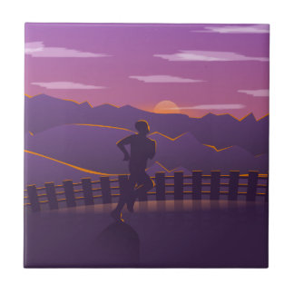 Running sunrise tile