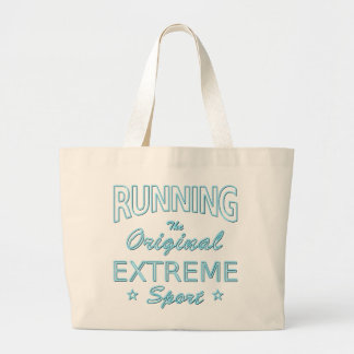RUNNING, the original extreme sport (blue neon) Large Tote Bag