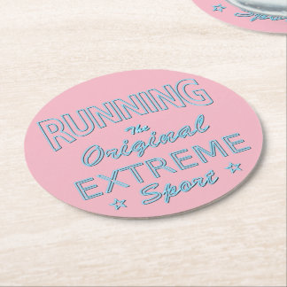 RUNNING, the original extreme sport (blue neon) Round Paper Coaster