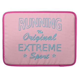 RUNNING, the original extreme sport (blue neon) Sleeve For MacBooks
