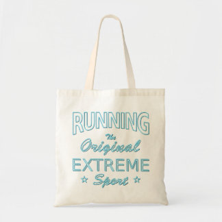 RUNNING, the original extreme sport (blue neon) Tote Bag