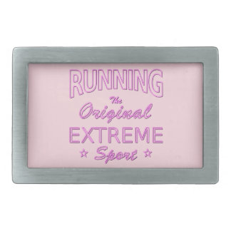 RUNNING, the original extreme sport (pink neon) Rectangular Belt Buckles
