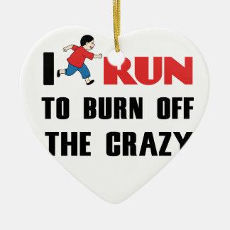 running to burn off the craziness ceramic ornament