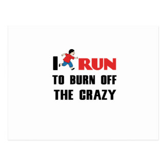 running to burn off the craziness postcard
