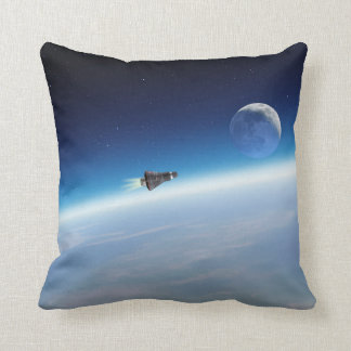 Running to the moon! throw pillow