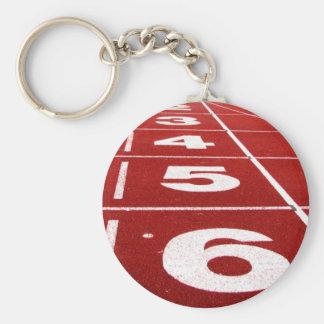 Running track basic round button keychain